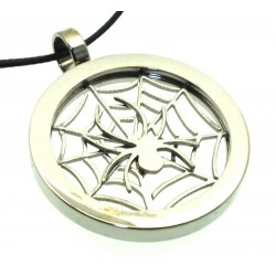 Stainless Steel Cobweb and Spider Pendant