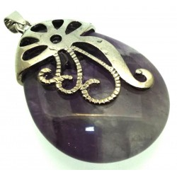 Amethyst Gemstone Teardrop Ornate Swirl Pendant