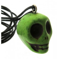 Coloured Green Stone Skull Pendant