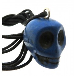 Coloured Blue Stone Skull Pendant