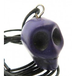 Coloured Purple Stone Skull Pendant