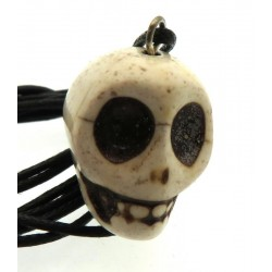 Coloured White Stone Skull Pendant