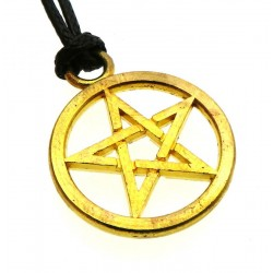 Gold Coloured Metal Pentacle Pendant