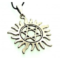 Silver Plated Star of David Flame Pendant