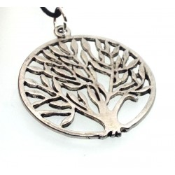 Silver Plated Round Tree Design Pendant