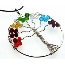 Tree of Life Chakra Glass Crystal Hand Crafted Pendant