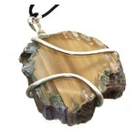 Agate Gemstone Slice Coiled Wire Pendant