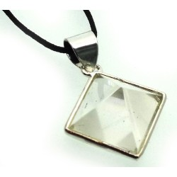 Clear Quartz Gemstone Pyramid Pendant