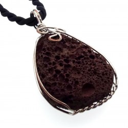 Wired Natural Volcanic Lava Rock Pendant