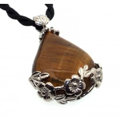 Tigers Eye Gemstone Flower Detail Pendant