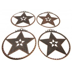 4x Brass Coloured Metal Five Pointed Star Charms