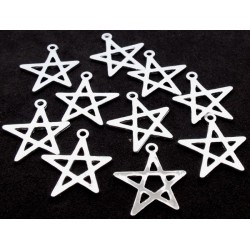 10x Silver Plated Five Pointed Star Charms