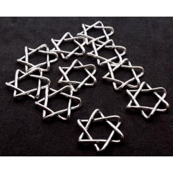 10x Silver Plated Six Pointed Star Charms