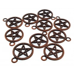 10x Copper Pentacle Metal Charms