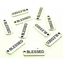 10x Silver Coloured Metal Blessed Text Charms