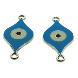 2x Turquoise Enamel Double Connector Evil Eye Charms