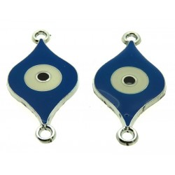 2x Blue Enamel Double Connector Evil Eye Charms