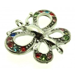 1x Metal Double Connector Crystal Butterfly Charm