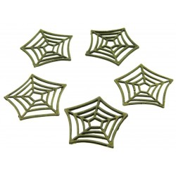 5x Bronze Coloured Metal Cobweb Charms