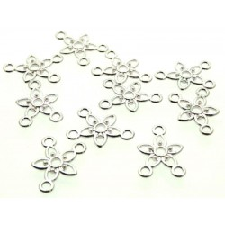 10x Silver Coloured Metal Flower Connector Charms