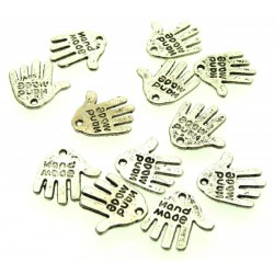 12x Silver Coloured Metal Hand Made Text Hand Charms