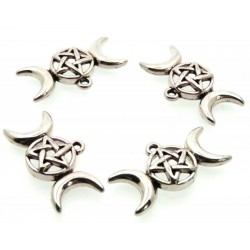 4x Silver Coloured Metal Triple Moon Goddess Charms