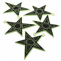 5x Metal Black Enamelled Pentagram Charms