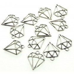 12x Silver Coloured Metal Geometric Diamond Charms