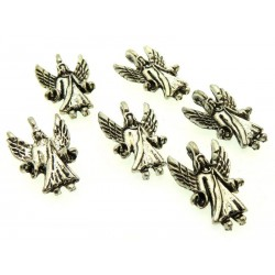 6x Silver Coloured Metal Archangel Charms