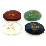 Carved Gemstone Earth Air Fire Water Cabochon Set