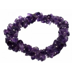 Fused Amethyst Gemstone Chip Bracelet