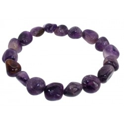 Amethyst Gemstone Smooth Pebble Elasticated Bracelet