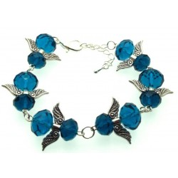 Dark Blue Coloured Crystal Glass Guardian Angel Bracelet