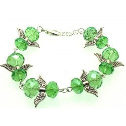 Green Coloured Crystal Glass Guardian Angel Bracelet