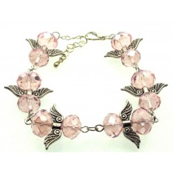 Pink Coloured Crystal Glass Guardian Angel Bracelet