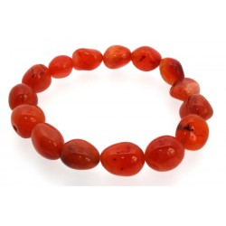 Carnelian Gemstone Smooth Pebble Elasticated Bracelet