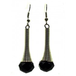 Black Sparkling Faceted Dropper Fishhook Earrings