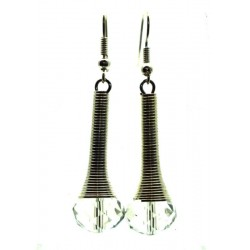 Clear Sparkling Faceted Dropper Fishhook Earrings
