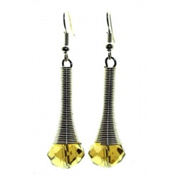 Golden Sparkling Faceted Dropper Fishhook Earrings