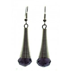 Indigo Sparkling Faceted Dropper Fishhook Earrings