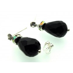 Black Sparkling Faceted Post Earrings