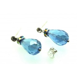 Blue Sparkling Faceted Post Earrings