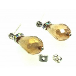 Golden Sparkling Faceted Post Earrings