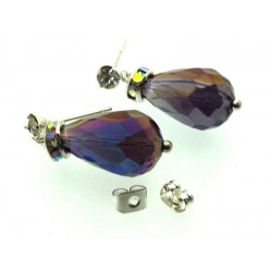 Purple Sparkling Faceted Post Earrings