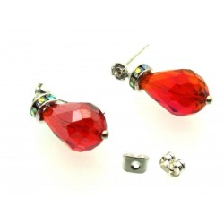 Ruby Red Sparkling Faceted Post Earrings