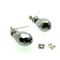 Silver Effect Sparkling Faceted Post Earrings