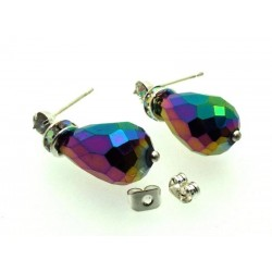 Titanium Aura Sparkling Faceted Post Earrings