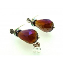 Topaz Effect Sparkling Faceted Post Earrings