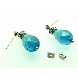 Turquoise Effect Sparkling Faceted Post Earrings