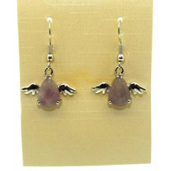 Amethyst Gemstone Angel Fishhook Earrings